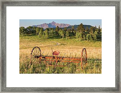 Hay Rake In Morning Sun Framed Print