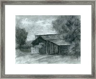 Hay Shed Sketch Framed Print