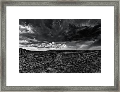 Hay Storm Black And White Framed Print by Mark Kiver