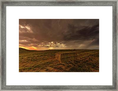 Hay Storm Framed Print by Mark Kiver