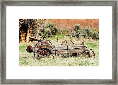 Hay Wagon At Butch Cassidy's Home Framed Print by Dennis Hammer
