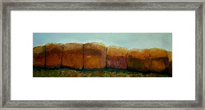 Haybales Framed Print by Judy  Blundell