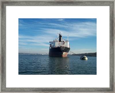 Haydar At Anchor Framed Print by Alan Espasandin