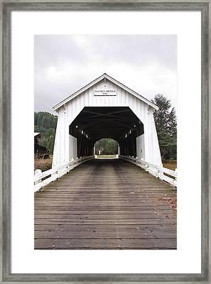 Hayden Bridge Covered Bridge Framed Print by John Higby