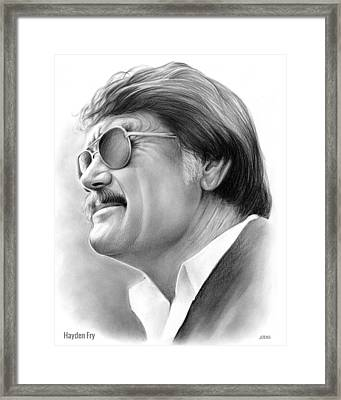 Hayden Fry Framed Print by Greg Joens