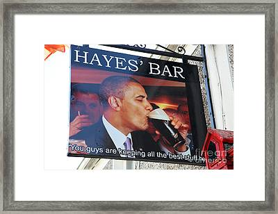 Hayes Bar Obama Sign Framed Print by Ros Drinkwater