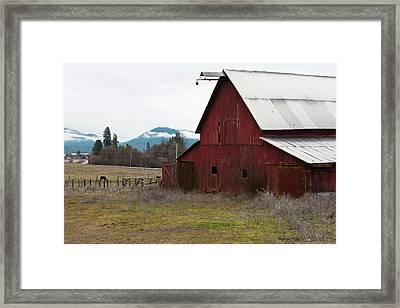 Hayfork Red Barn Framed Print