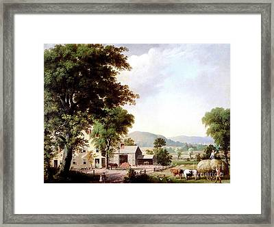 Haying At Jones Inn, 1854 Framed Print by George Durrie