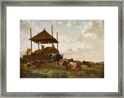 Haying Time Framed Print by William Tylee Ranney