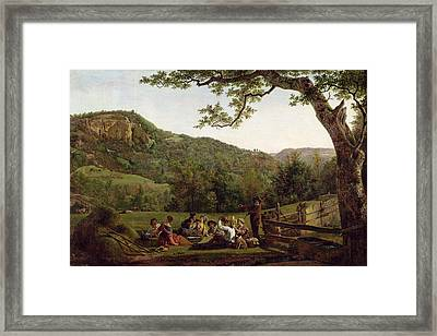 Haymakers Picnicking In A Field Framed Print by Jean Louis De Marne