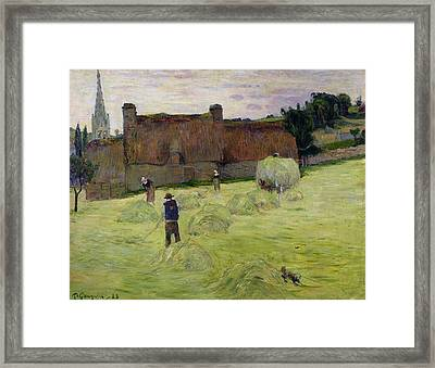 Haymaking In Brittany Framed Print by Paul Gauguin