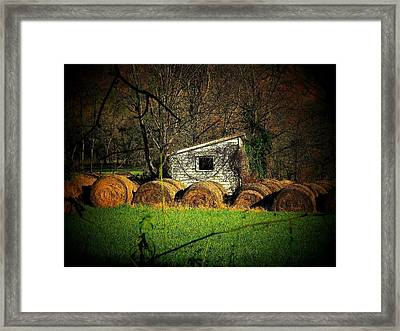 Hayroll Shed Framed Print by Michael L Kimble