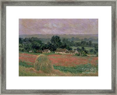 Haystack At Giverny Framed Print by Claude Monet
