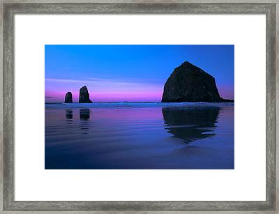 Haystack Morning Framed Print