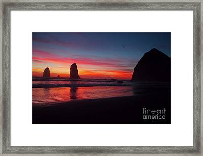 Haystack Rock At Sunset 2 Framed Print