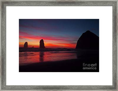 Haystack Rock At Sunset Framed Print