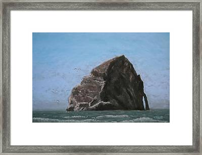 Haystack Rock  Framed Print by Carl Capps