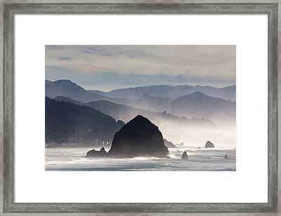 Haystack Rock On The Oregon Coast In Cannon Beach Framed Print