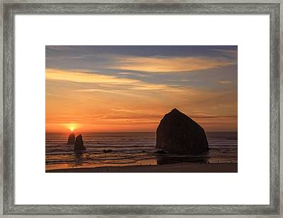 Haystack Rock Sunset, Cannon Beach, Oregon Framed Print by Kay Brewer