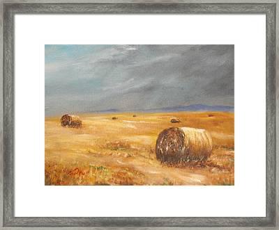 Haystacks After The Rain Framed Print by Rusty W Hinshaw