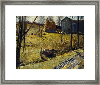 Haystacks And Barn Framed Print