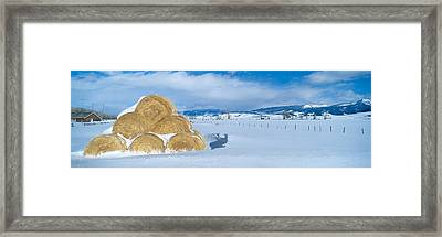 Haystacks And Snow, Moose-wilson Road Framed Print by Panoramic Images