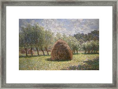 Haystacks At Giverny Framed Print by Claude Monet