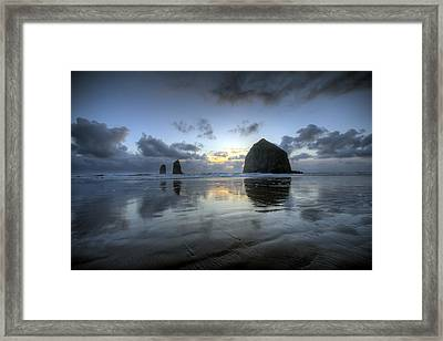 Haystacks At Sunset Framed Print