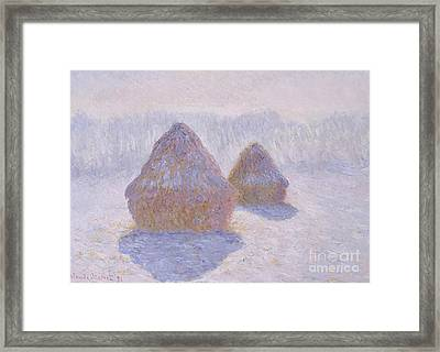 Haystacks  Effect Of Snow And Sun, 1891  Framed Print by Claude Monet