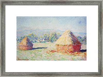 Haystacks In The Sun Framed Print by Claude Monet