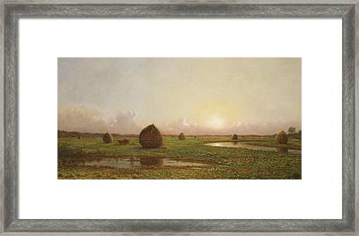 Haystacks Framed Print by Martin Johnson Heade