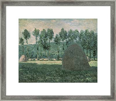 Haystacks Near Giverny Framed Print by Claude Monet