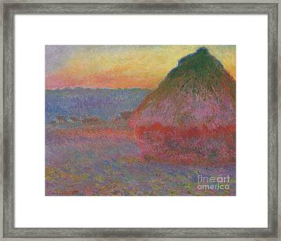 Haystacks, Pink And Blue Impressions, 1891 Framed Print