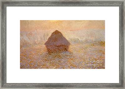 Haystacks, Sun In The Mist Framed Print