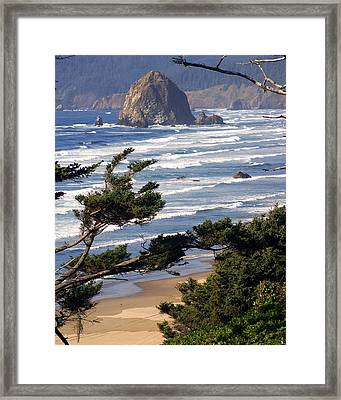 Haystak Rock Through The Trees Framed Print by Marty Koch