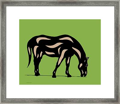 Hazel - Pop Art Horse - Black, Hazelnut, Greenery Framed Print