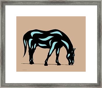 Hazel - Pop Art Horse - Black, Island Paradise Blue, Hazelnut Framed Print