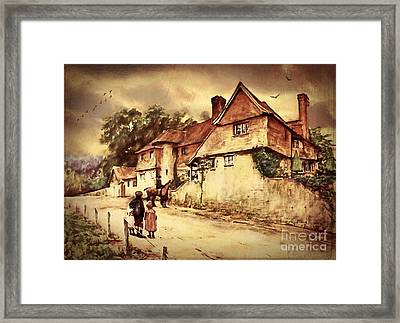 Framed Print featuring the digital art Hazelmere Cottage - English Lake District by Lianne Schneider