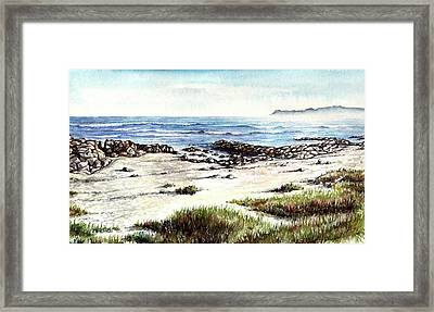 Framed Print featuring the painting Hazy Coastline by Heidi Kriel