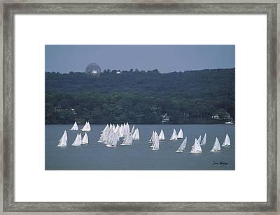 Hazy Day Regatta - Lake Geneva Wisconsin Framed Print by Bruce Thompson