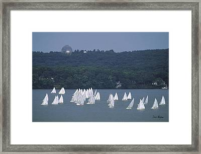 Hazy Day Regatta - Lake Geneva Wisconsin Framed Print