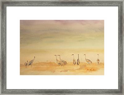 Hazy Days Cranes Framed Print