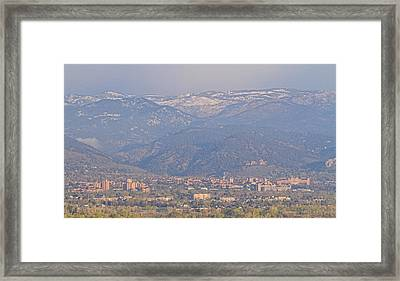 Hazy Low Cloud Morning Boulder Colorado University Scenic View  Framed Print