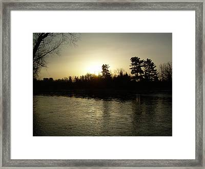 Framed Print featuring the photograph Hazy Mississippi River Sunrise by Kent Lorentzen
