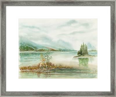 Hazy On The Lake Framed Print by Samuel Showman