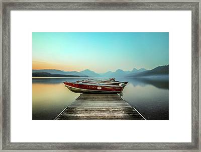 Hazy Reflection // Lake Mcdonald, Glacier National Park Framed Print