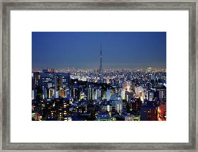 Hazy Skyline With Tokyo Sky Tree Framed Print by Hidehiko Sakashita