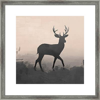 Hazy Stag 1 Framed Print by Amanda Lakey