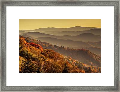 Hazy Sunny Layers In The Smoky Mountains Framed Print