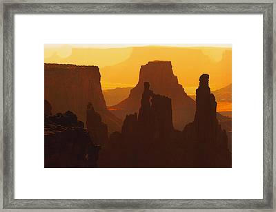 Hazy Sunrise Over Canyonlands National Park Utah Framed Print